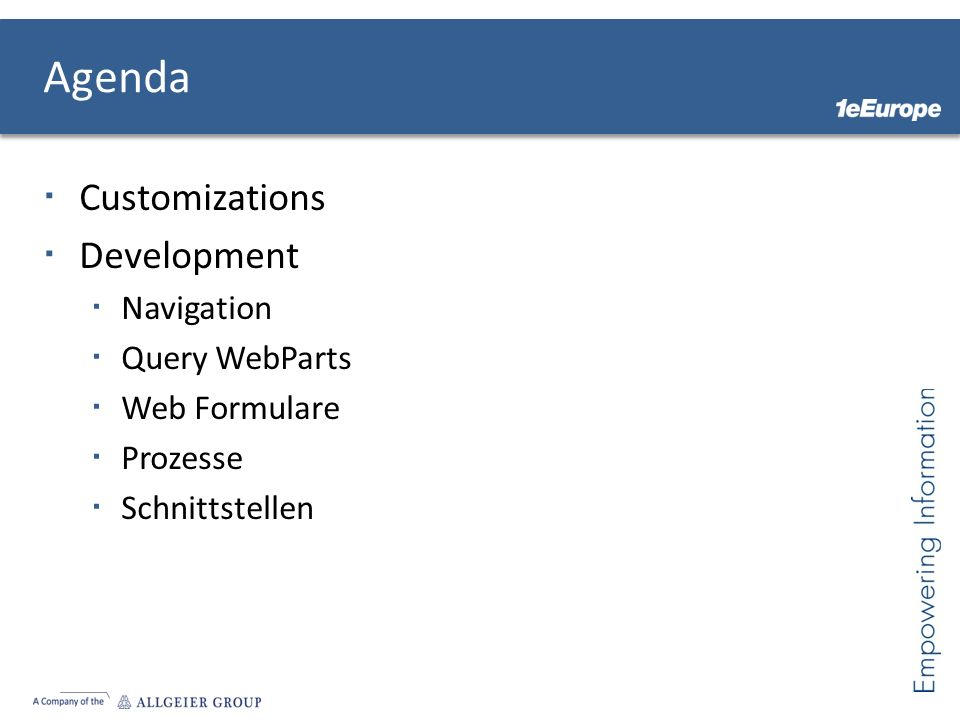 Agenda Customizations Development Navigation Query WebParts