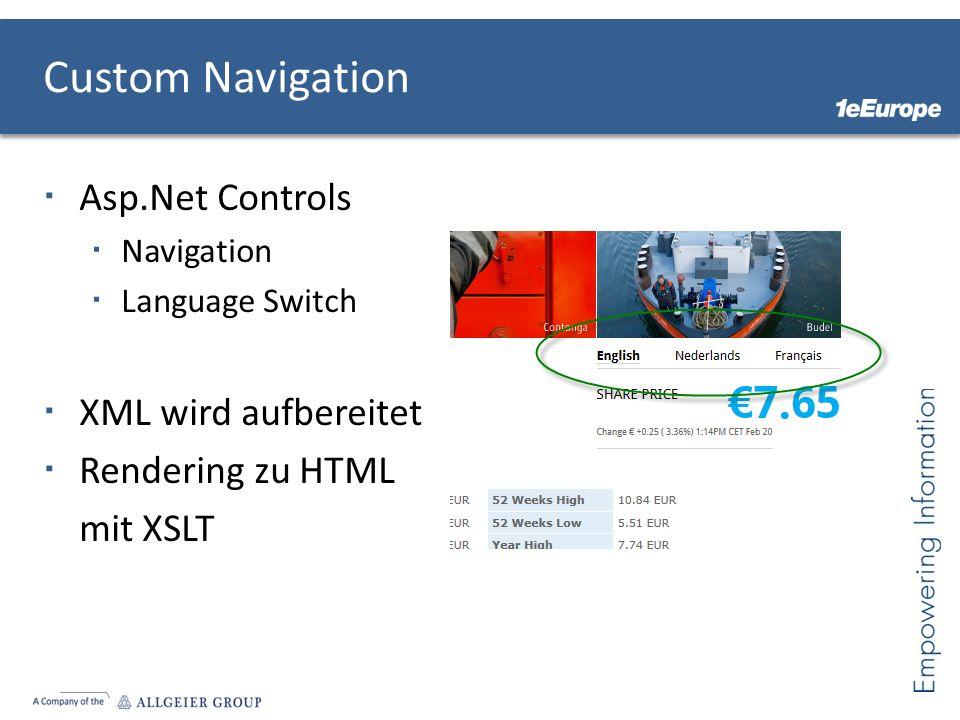 Custom Navigation Asp.Net Controls XML wird aufbereitet