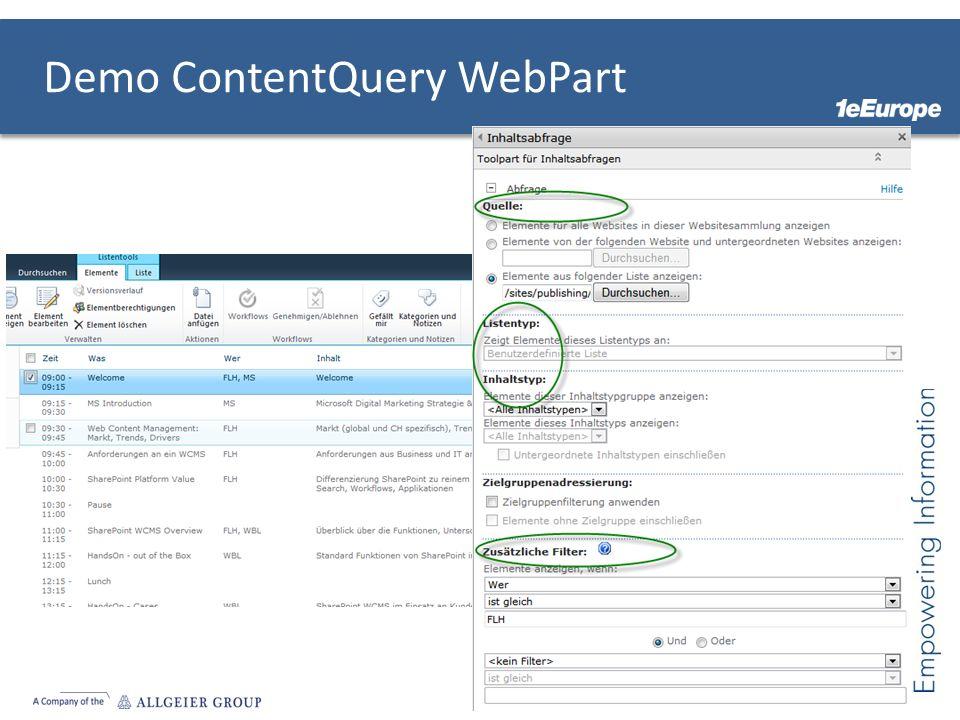Demo ContentQuery WebPart