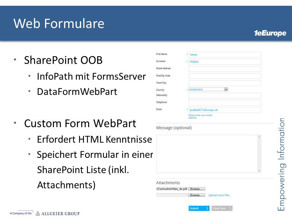 Web Formulare SharePoint OOB Custom Form WebPart