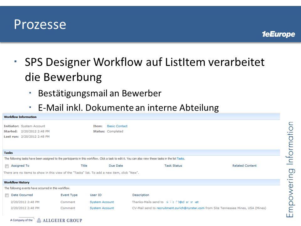 Prozesse SPS Designer Workflow auf ListItem verarbeitet die Bewerbung
