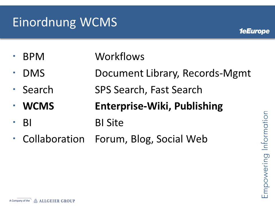 Einordnung WCMS BPM Workflows DMS Document Library, Records-Mgmt