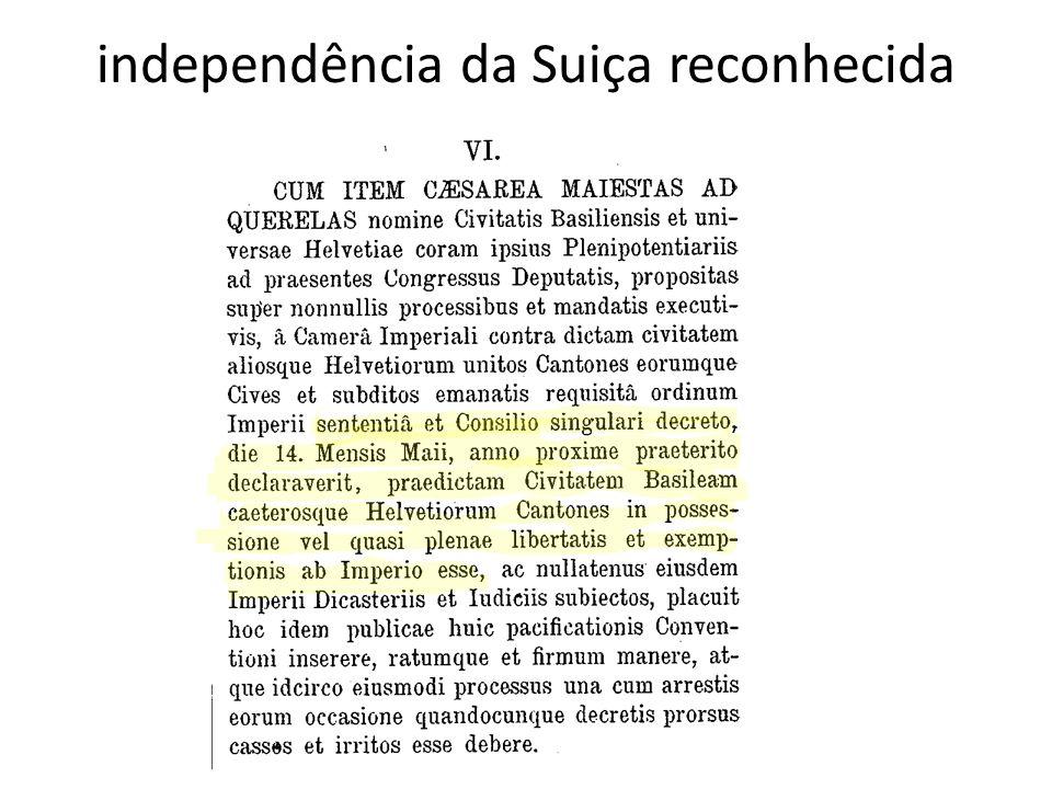independência da Suiça reconhecida