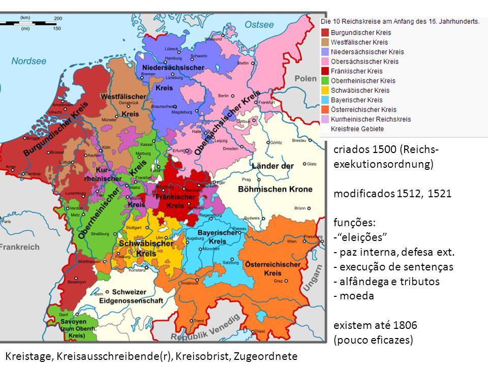 criados 1500 (Reichs- exekutionsordnung) modificados 1512, 1521. funções: eleições paz interna, defesa ext.