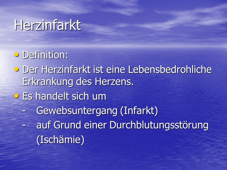 Herzinfarkt Definition: