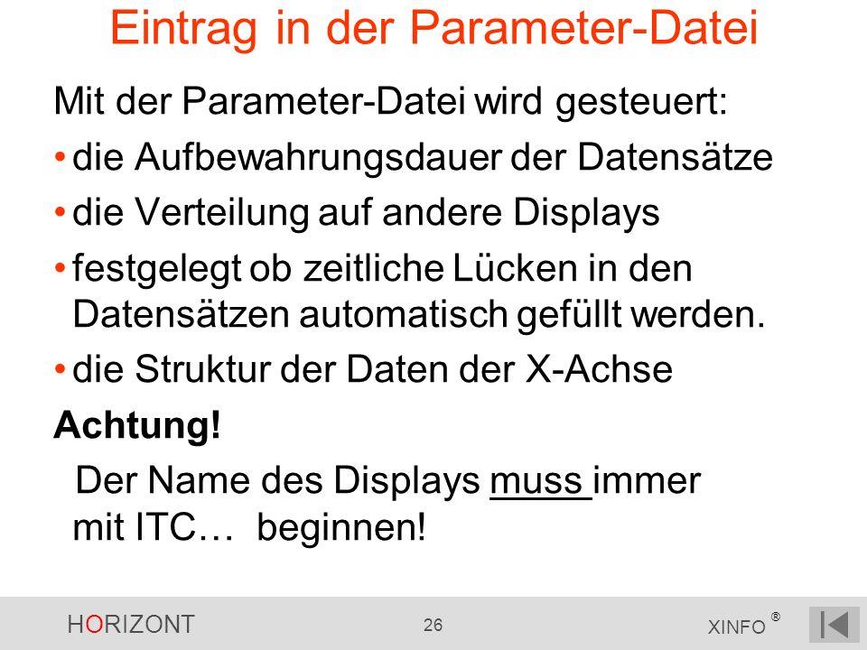 Eintrag in der Parameter-Datei