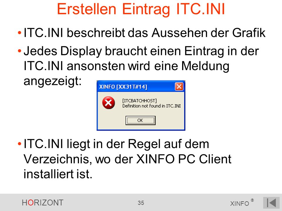 Erstellen Eintrag ITC.INI
