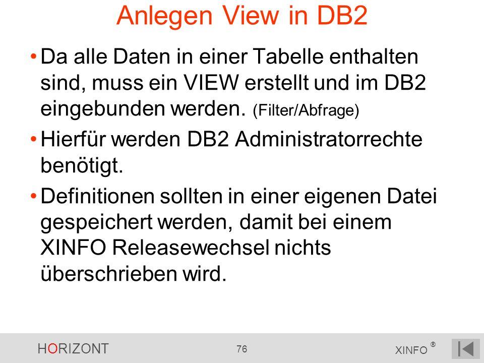 Anlegen View in DB2 Da alle Daten in einer Tabelle enthalten sind, muss ein VIEW erstellt und im DB2 eingebunden werden. (Filter/Abfrage)