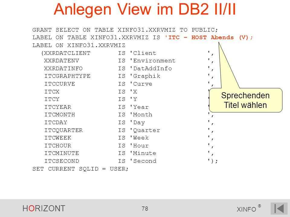 Anlegen View im DB2 II/II
