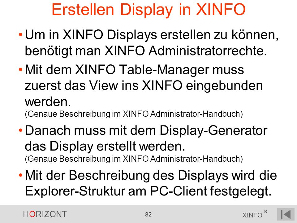 Erstellen Display in XINFO