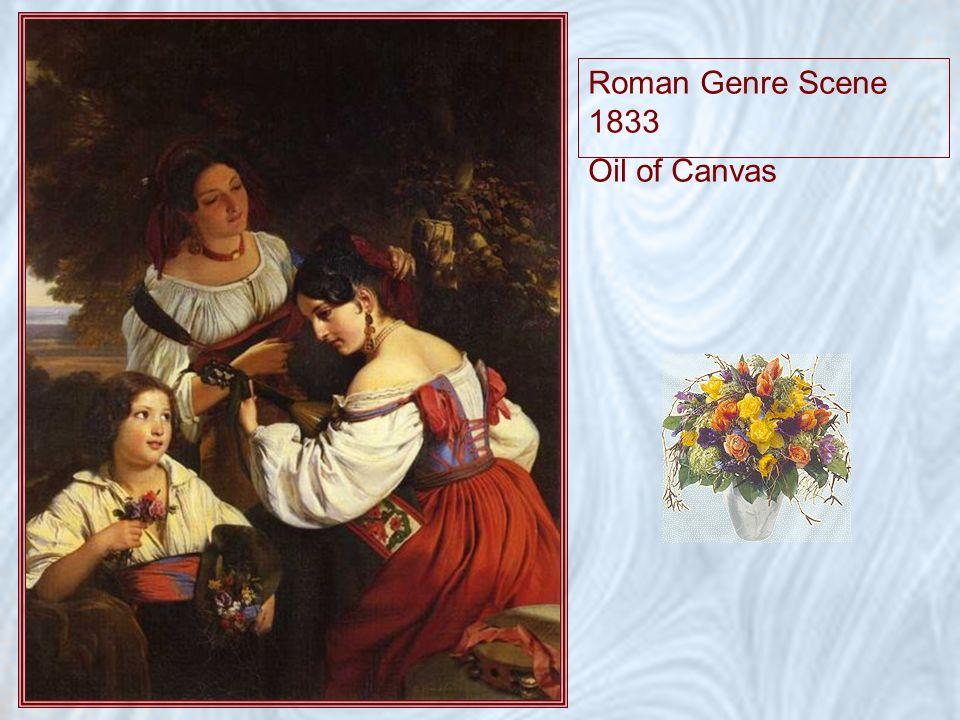 Roman Genre Scene 1833 Oil of Canvas