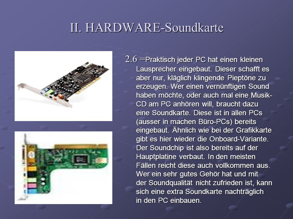 II. HARDWARE-Soundkarte