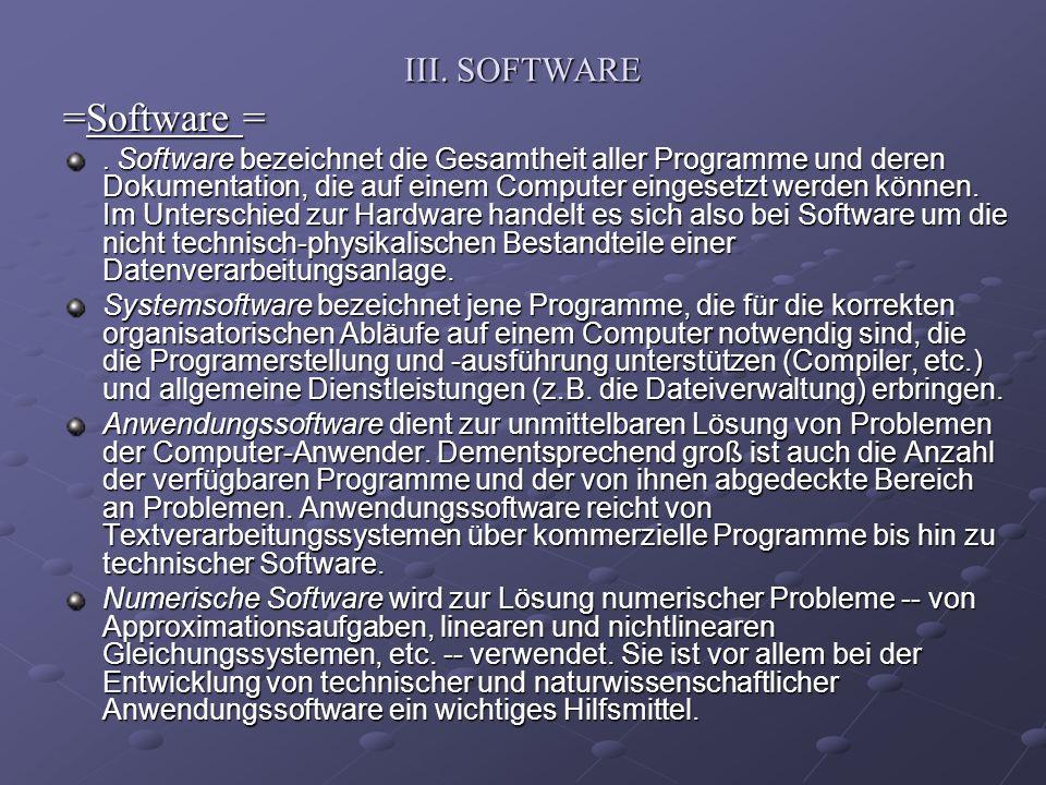 =Software = III. SOFTWARE