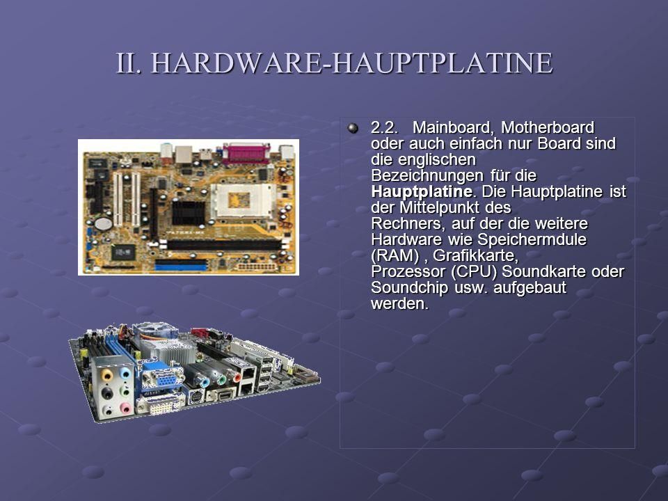 II. HARDWARE-HAUPTPLATINE