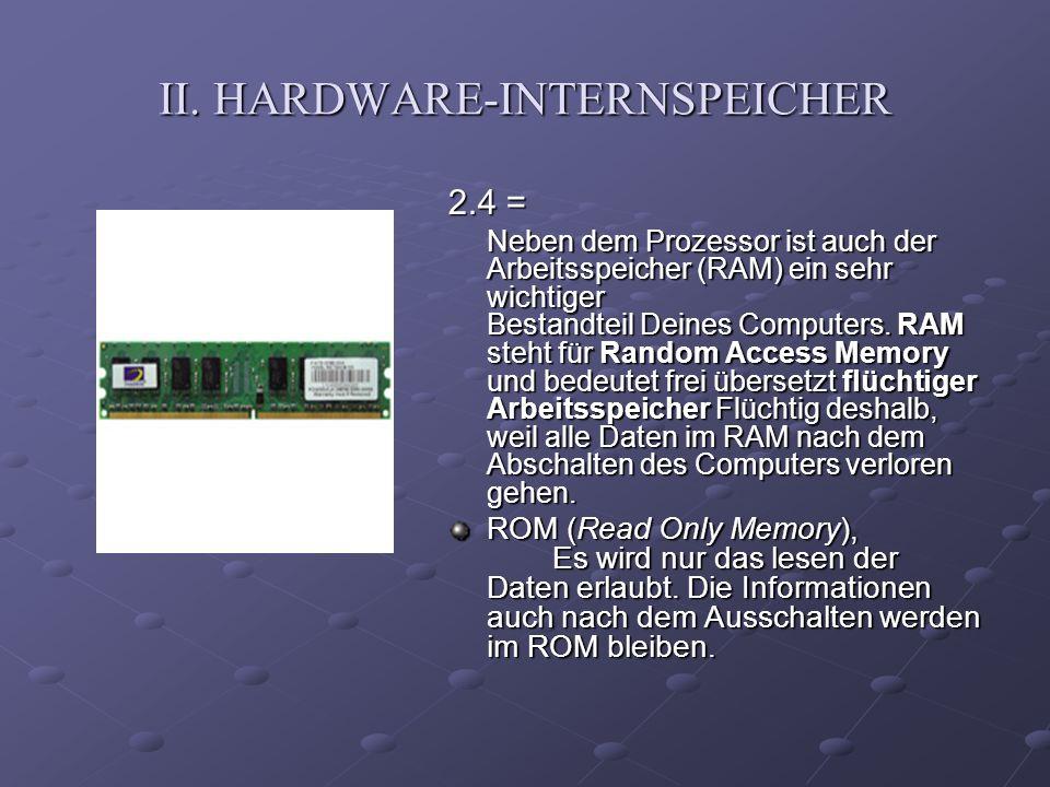 II. HARDWARE-INTERNSPEICHER