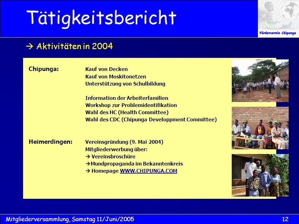 Tätigkeitsbericht  Aktivitäten in 2004 Chipunga: Kauf von Decken