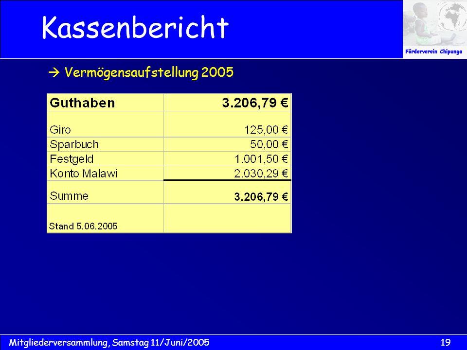 Kassenbericht  Vermögensaufstellung 2005