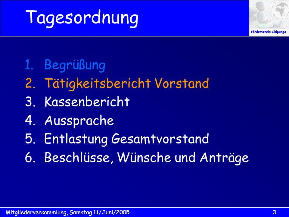 Tagesordnung Begrüßung Tätigkeitsbericht Vorstand Kassenbericht