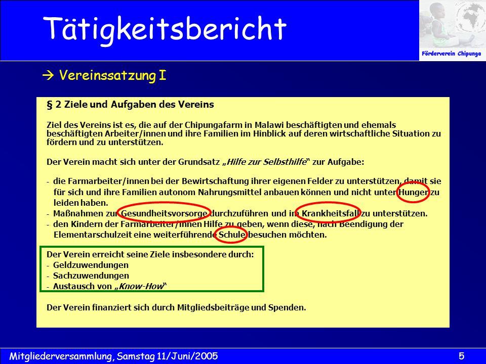 Tätigkeitsbericht  Vereinssatzung I