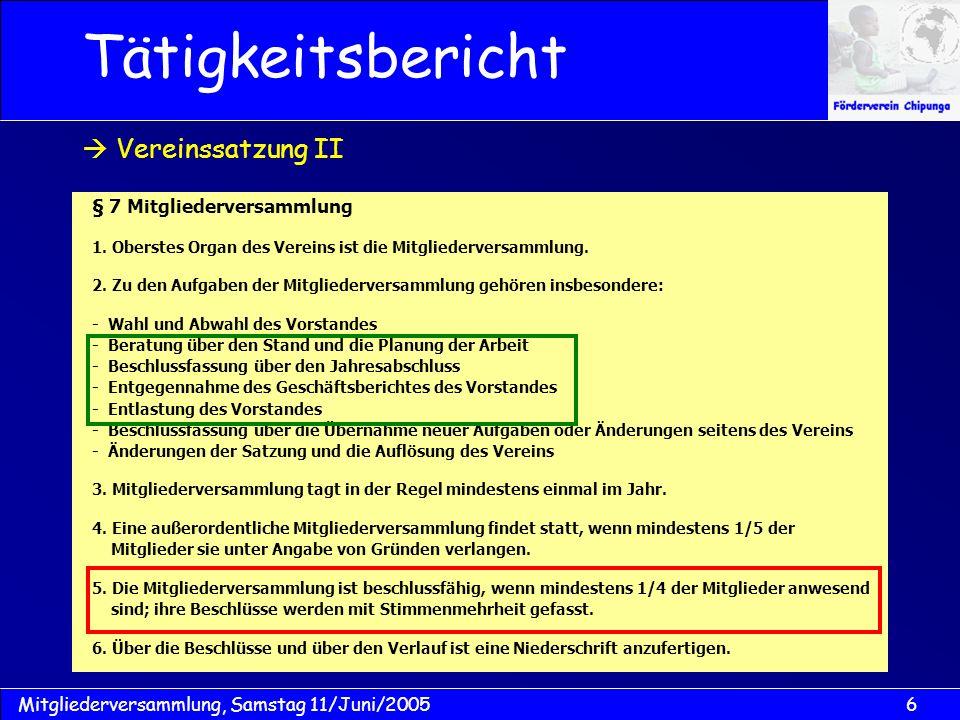 Tätigkeitsbericht  Vereinssatzung II § 7 Mitgliederversammlung