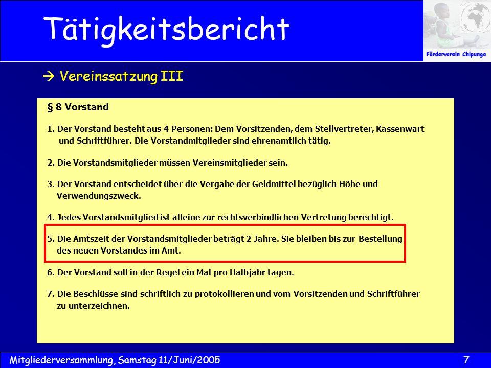 Tätigkeitsbericht  Vereinssatzung III § 8 Vorstand