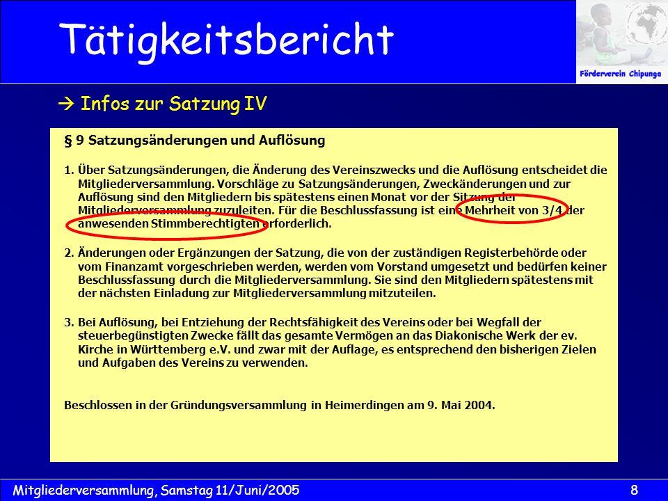 Tätigkeitsbericht  Infos zur Satzung IV