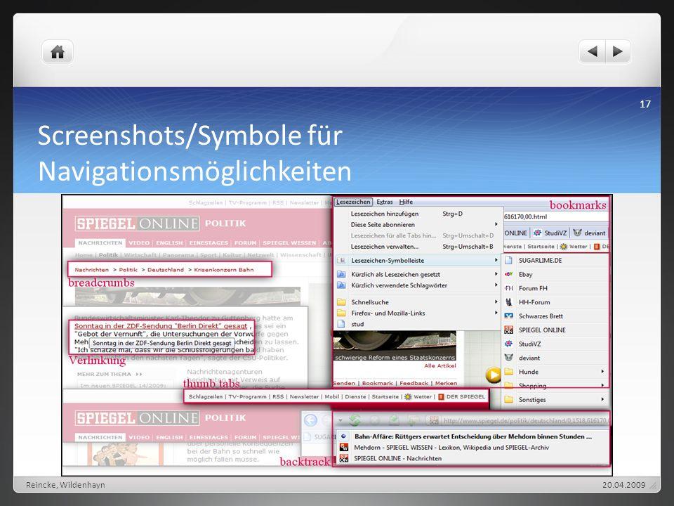 Screenshots/Symbole für Navigationsmöglichkeiten