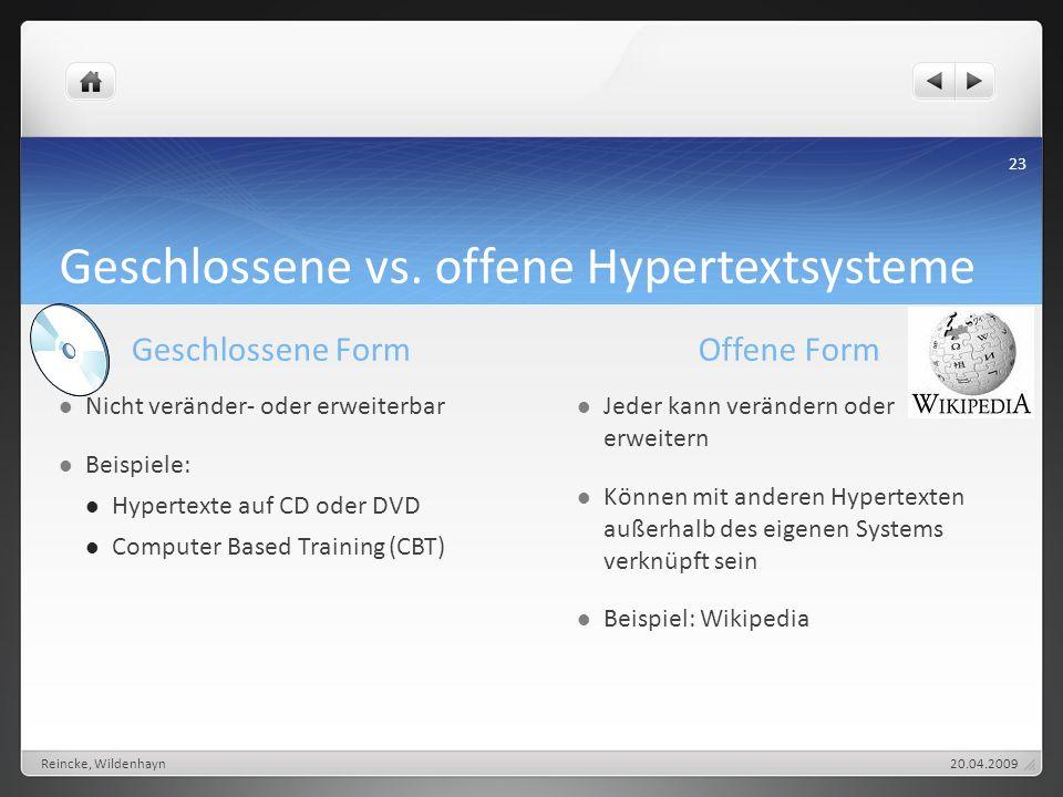 Geschlossene vs. offene Hypertextsysteme