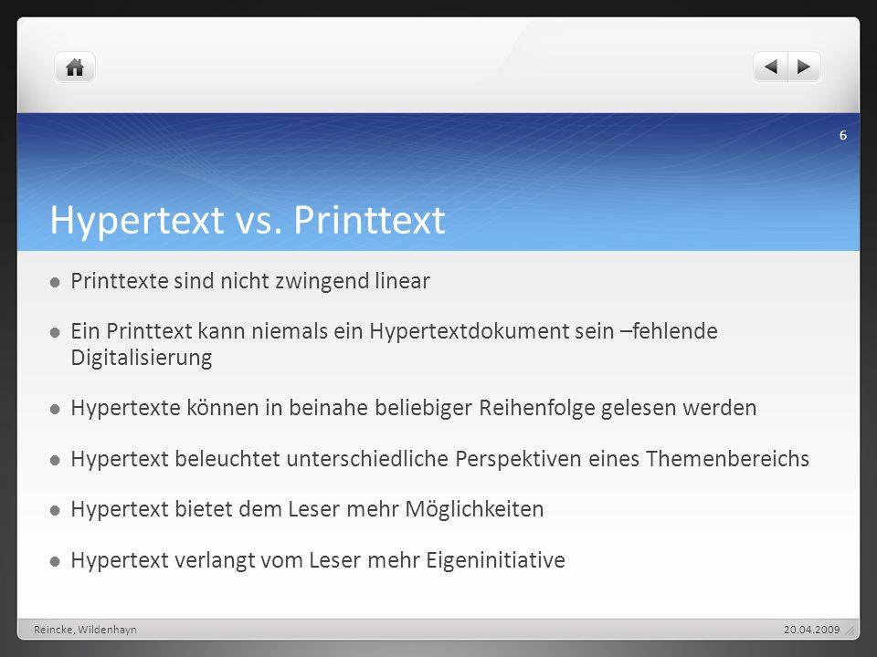 Hypertext vs. Printtext