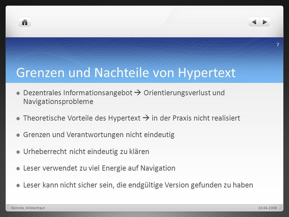 Grenzen und Nachteile von Hypertext