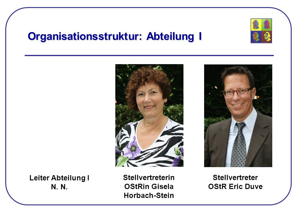 Organisationsstruktur: Abteilung I