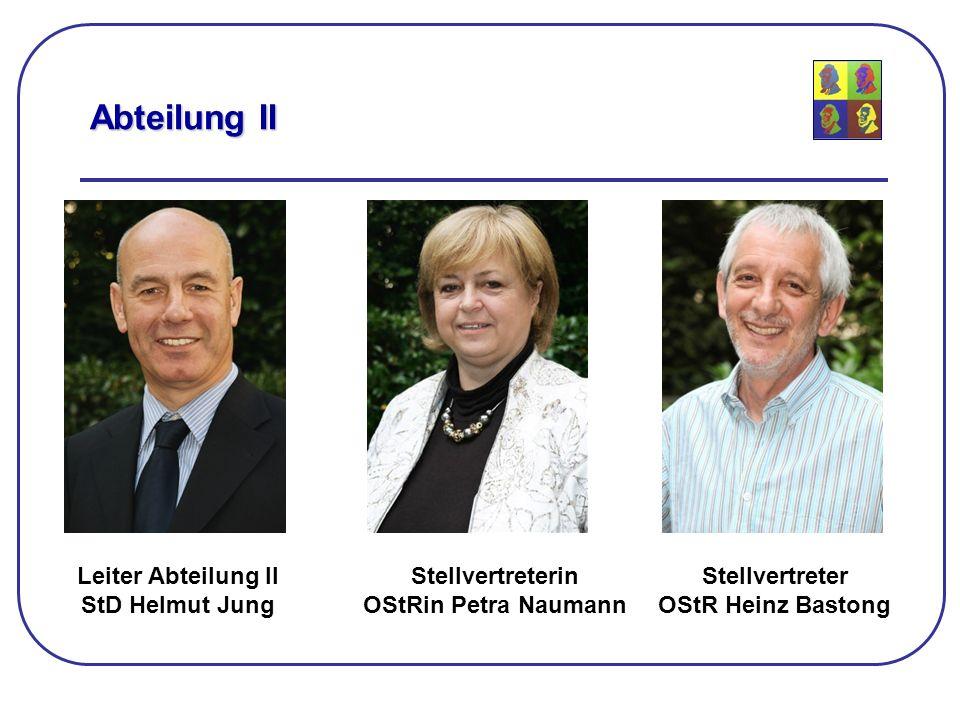 Abteilung II Leiter Abteilung II StD Helmut Jung Stellvertreterin