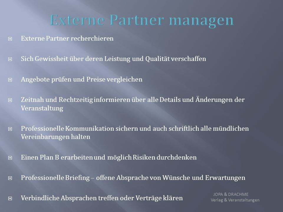 Externe Partner managen