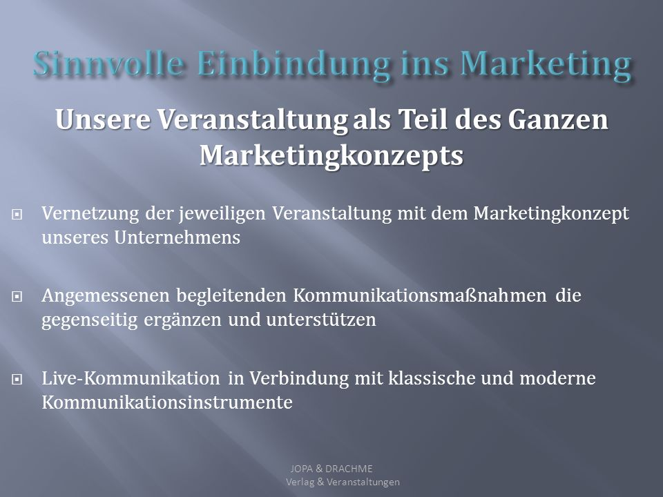 Sinnvolle Einbindung ins Marketing