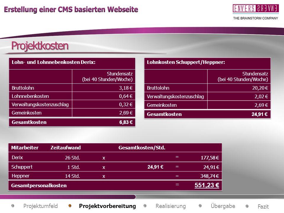 Projektkosten Lohn- und Lohnnebenkosten Derix: Stundensatz. (bei 40 Stunden/Woche) Bruttolohn. 3,18 €