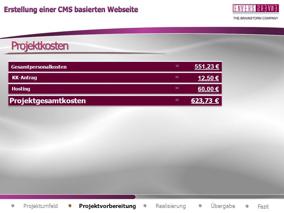 Projektkosten Projektgesamtkosten 12,50 € 60,00 € 623,73 € 551,23 €