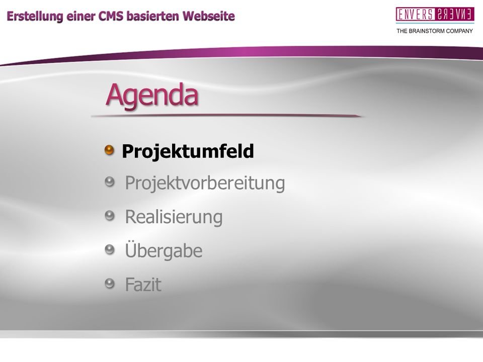 Agenda Projektumfeld Projektvorbereitung Realisierung Übergabe Fazit
