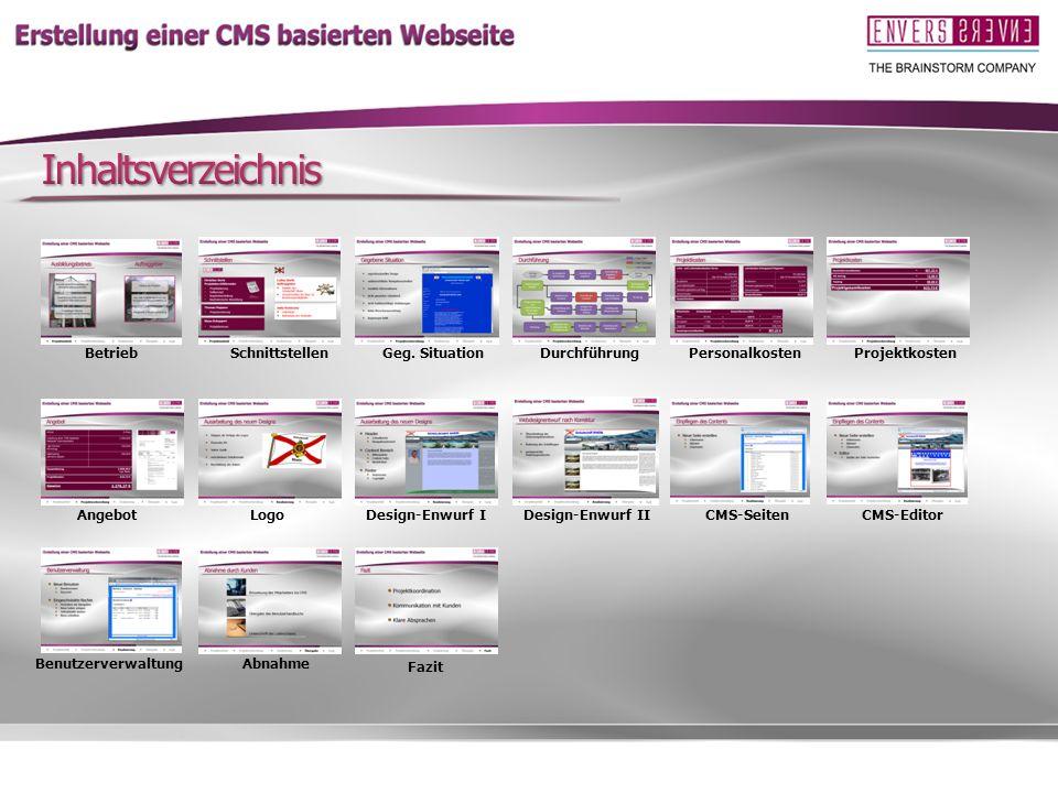 Inhaltsverzeichnis Betrieb Schnittstellen Geg. Situation Durchführung