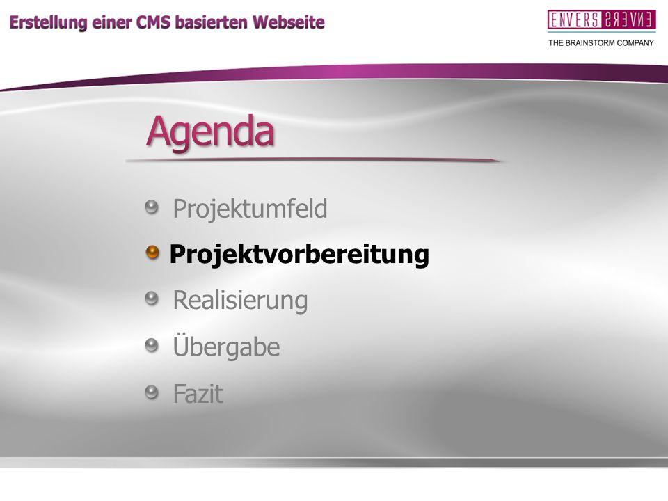 Agenda Komme dann zur Projektvorbereitung Projektumfeld