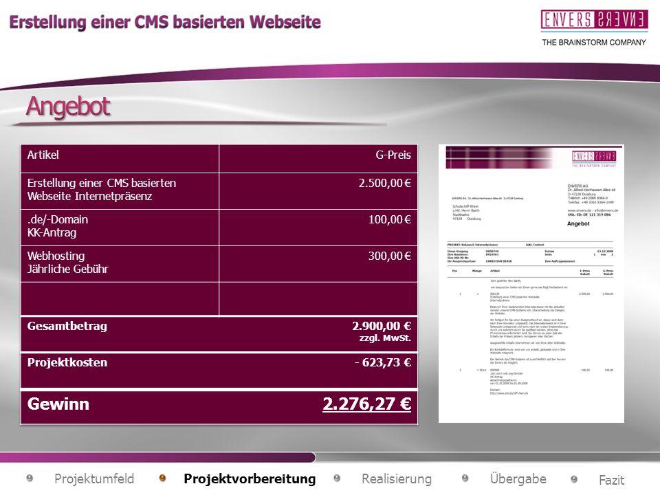 Angebot Gewinn 2.276,27 € Projektumfeld Projektvorbereitung