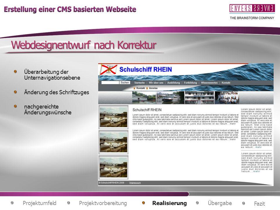 Webdesignentwurf nach Korrektur