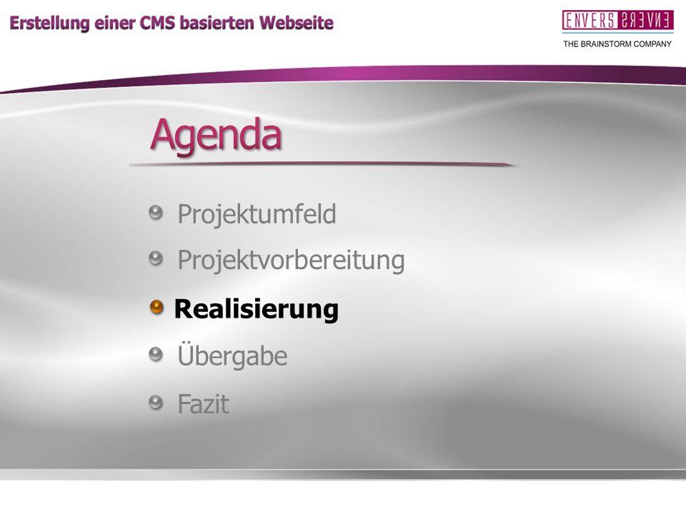 Agenda Projektumfeld Projektvorbereitung Realisierung