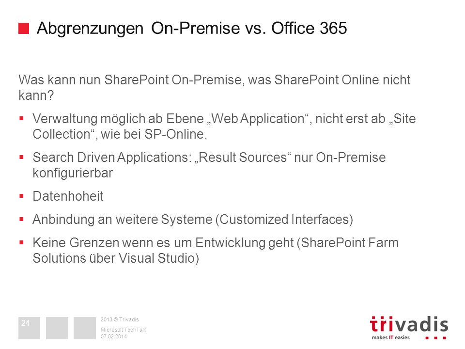 Abgrenzungen On-Premise vs. Office 365