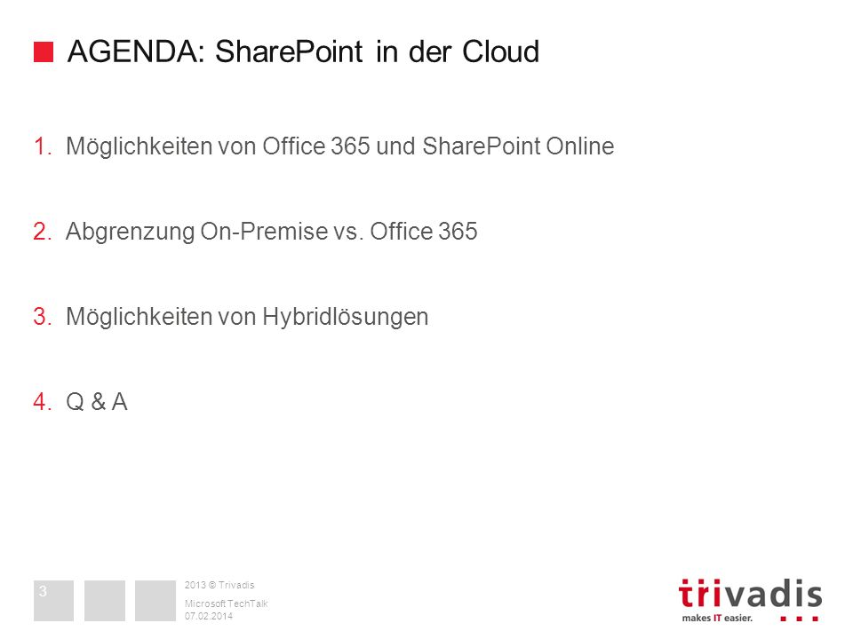 AGENDA: SharePoint in der Cloud