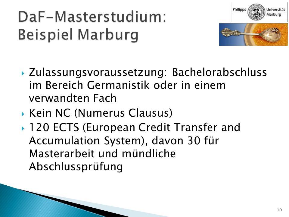 DaF-Masterstudium: Beispiel Marburg