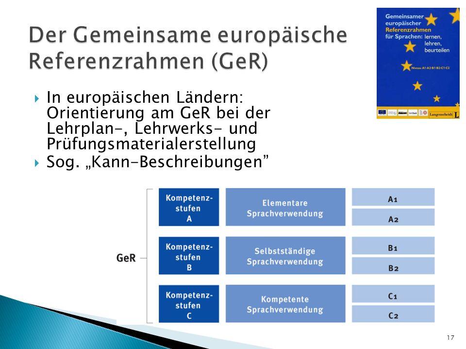 Der Gemeinsame europäische Referenzrahmen (GeR)
