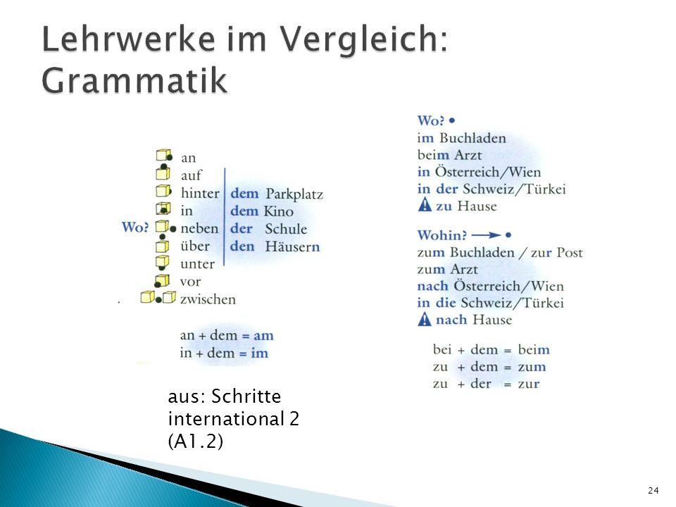 Lehrwerke im Vergleich: Grammatik
