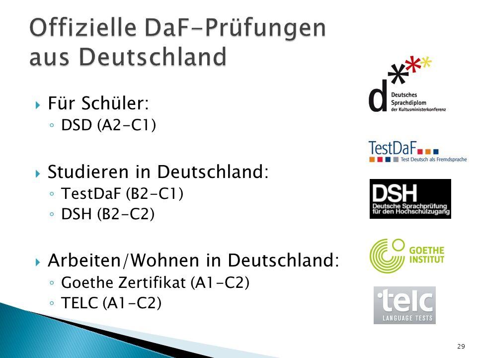 Offizielle DaF-Prüfungen aus Deutschland