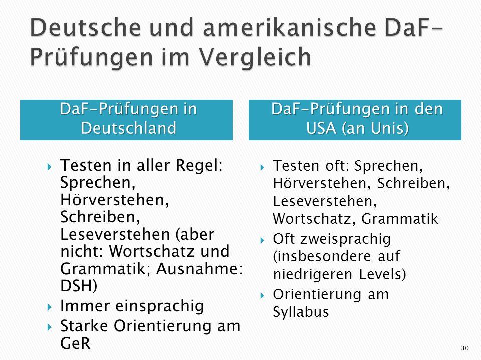 Deutsche und amerikanische DaF-Prüfungen im Vergleich