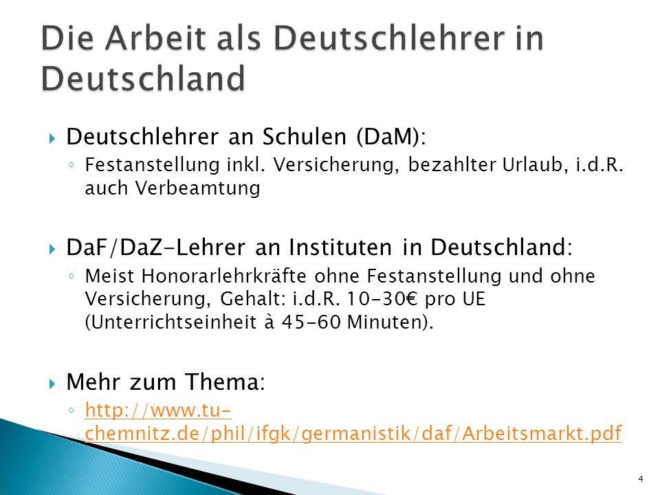 Die Arbeit als Deutschlehrer in Deutschland